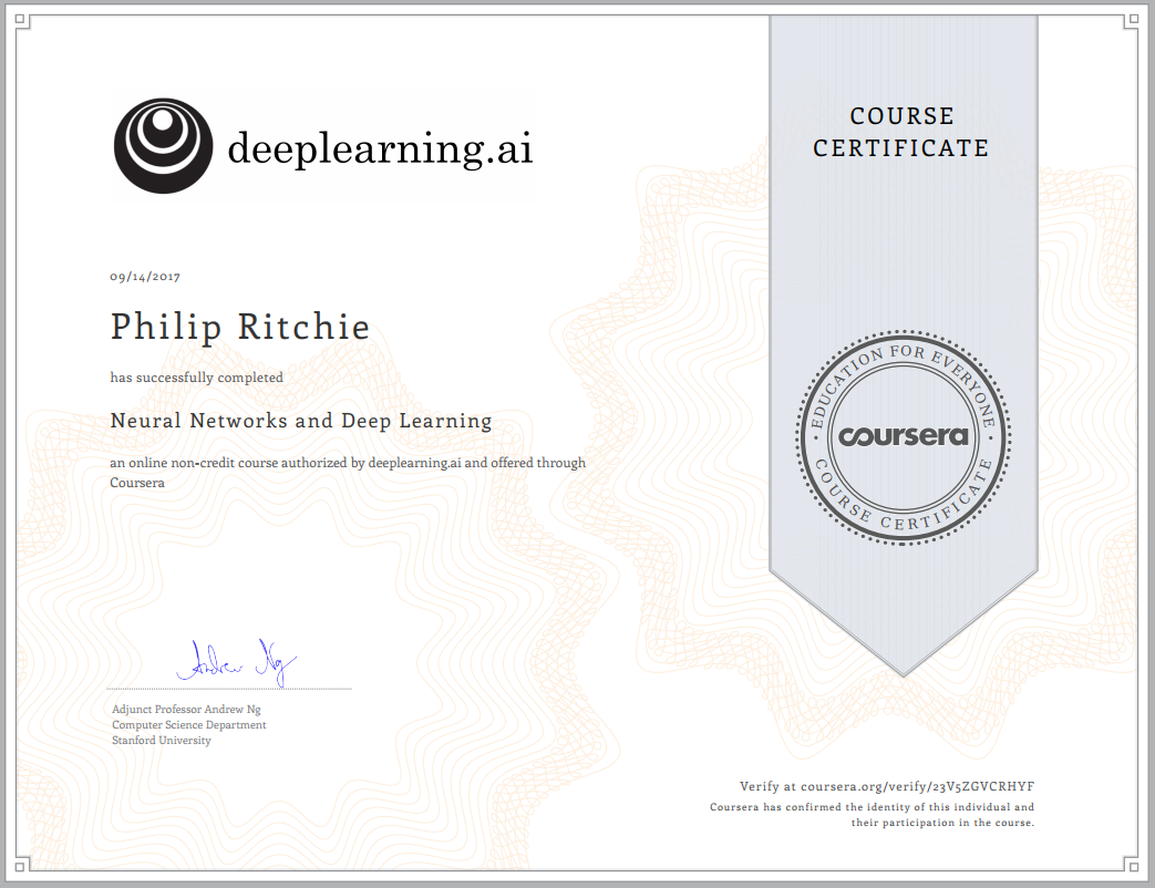 coursera machine learning certificate